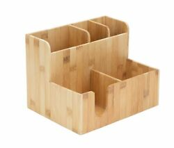 Mind Reader 2 Tier 5 Section Station Sorter For Condiments And More Bamboo Brown