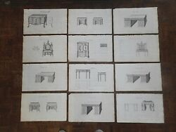 Antique 18th C. Engravings - Furniture - Thomas Chippendale - London-set Of 12