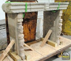 Antique Stone Altar Or Console Table Traditional Caryatid Figures Temple Style