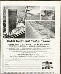1968 Trailway Buses Tours Print Ad Exciting Scenery Level Travel