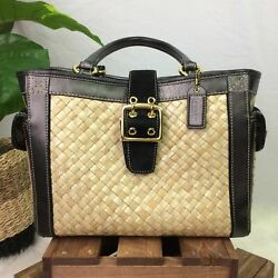 SMALL COACH BAG WOVEN STRAW SUEDE LEATHER TOTE $50.00