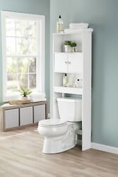 Wooden Over The Toilet Storage Cabinet Bathroom Space Saver Home W/ Holder White