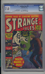 Strange Tales 13 Cgc 7.0 Fn/vf Unrestored Atlas Marvel Scarce Ow/w Pages