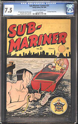 Sub-mariner 21 Cgc 7.5 Vf- Marvel Last Angel Story Cream To Off-white Pages