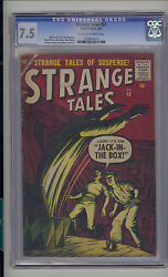 Strange Tales 55 Cgc 7.5 Vf- Unrestored Atlas Marvel Scarce Ow/w Pages