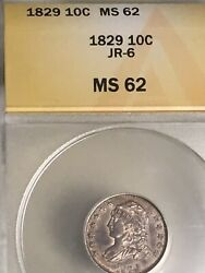 1829 Bust Dime Sm 10c Anacs Ms62-jr6 Scare Variety-bronze Toning-nice Eye Appeal