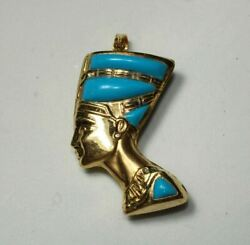 Egyptian Queen Nefertiti Mask Yellow Gold 18k Pendant Colored Stamped 12gr