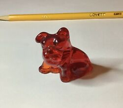 VINTAGE GLASS BULLDOG PENCIL HOLDER RED