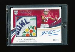 Tua Tagovailoa 2020 Panini Immaculate Collection Bowl Logo Patch Jersey Rc 10/10