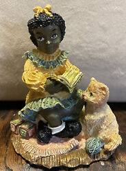 African American Girl Reading To Cat Youngs Collectibles 1994 Black Americana 4andrdquo