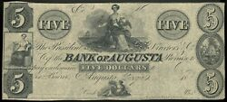 Obsolete Currency Mid-1800's Bank Of Augusta, Georgia 5 Remainder