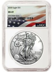 2020 1oz Silver Eagle NGC MS69 Flag Label $39.99
