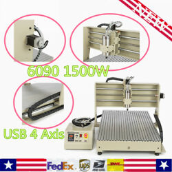 6090 Usb 4 Axis Cnc Router Engraver Drill Diy Machine +spindle Motor 1.5kw Vfd