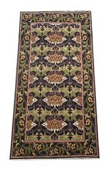 9x18 William Morris Rug Black Hand-knotted Wool Oriental Carpet 7and0399 X 17and0397
