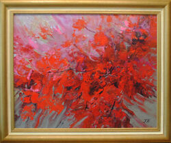 Abstract Bougainvillea. Original Oil Over Acrylic On Canvas 16x20 Painting