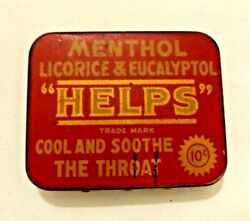 Vintage Helps Tin Menthol Licorice And Eucalyptol Pellets National Licorice Co.