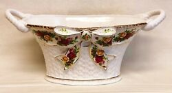 Mint Royal Albert Bone China Old Country Roses 17 Handle Bow Basket Centerpiece