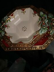 Fitz And Floyd Yuletide Holiday Platter And Bowl Set. This Glorious Set Can Dres