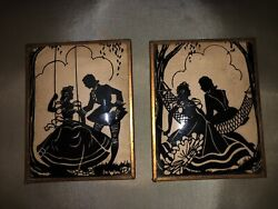 """Pair Of 3.5"""" By 4.5"""" Vintage Convex Shadow Silhouette Frames Of Courting Couple"""