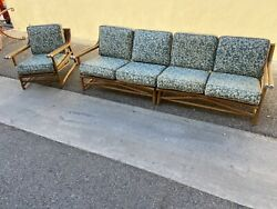 Vtg Rattan Furniture Set Chair And Loveseat Table Mcm Bamboo