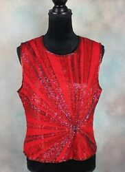 Vintage Papell Boutique Evening Women#x27;s Top Size M Red 100% Silk Beaded Formal $34.99