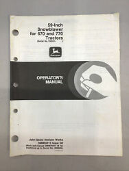 John Deere 59-in Snowblower For 670 And 770 Operator's Manual Omm95313 Issue G0