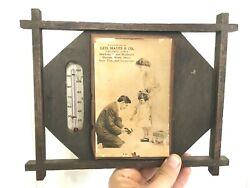 Antique Vtg Advertising Wooden Sign Thermometer Geo Hayes Calumus Iowa Ia Oil