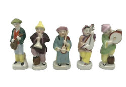 Vintage Occupied Japan Japanese Porcelain Figurines Playing Instruments Lot Of 5