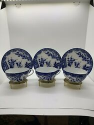 Geisha 3 Tea Cup And Saucer Litho Planein Cherry Blossom Pattern With Gold Stand