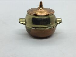 Very Good Condition Vintage Miniature Brass And Copper Tone Tureen With Lid.