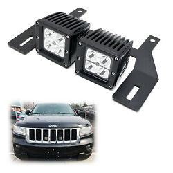 Behind Grille Mount Led Pod Light Kit W/brackets Wiring For Jeep Grand Cherokee