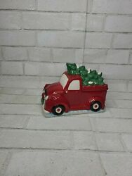 Christmas Holiday Cookie Candy Jar Red Farm Truck Carrying Green Tree Farmhouse