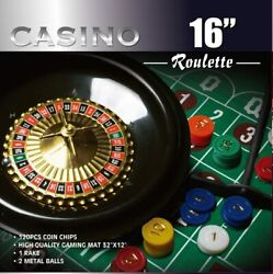 Casino 16 Roulette Wheel Game Set With 120 Chips Felt Layout Rake Sports Outdoo