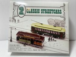2 Classic Streetcars Trolleys, Ho Scale Model Trains, Desire St, Powell And Mason