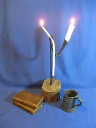 Antique 18th Century Wrought Iron Rushlight Candle Holder With Candles