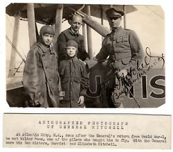 General William Billy Mitchell Pilot Wwi Autographed Photograph