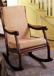 Rocking Arm Chair Classic Style Padded Fabric Seat Upholstery In Antique Oak