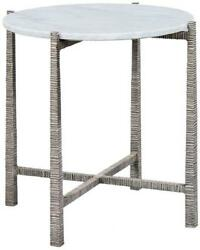 Side Table Round Stunning Carrara Marble Top Textured Silver Cast Aluminum