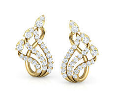 Christmas 0.90ct Natural Round Diamond 14k Solid Yellow Gold Stud Earring