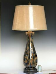 Huge Antique Pottery Lamp Wannopee Blue Tortoise Flambe Vintage Hand Turned 46
