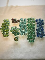 95 Vintage Old Collectible Marbles, Cat's Eye, Banana Cat's Eye, Tri-color