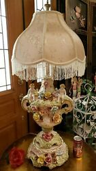 Fab Vintage 1960s Hp Porcelain Lg Figurine Lamp Cherubs And Applied Flowers Italy