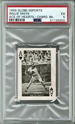 1969 Globe Imports Checkerboard Back Willie Mays Psa 5. Pop 1, Only 1 Higher