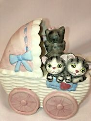 Cat Music Box Kittens In Baby Buggy Plays It's A Small World By Mann Japan Vtg