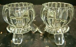 Vintage Pair Clear Crystal Footed Candle Holders 2.88 X 2.75 X 2.75 Excellent