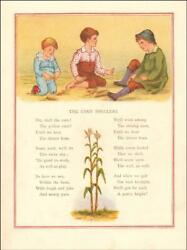 Boys Shelling Corn, Penny A Day For Their Work By Ida Waugh, Antique 1882