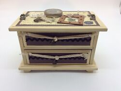 Nostalgic Stamp Covered Two Drawer Music Box. Raindrops Keep Falling On My Head