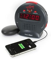 Alarm Clocks Sonic Bomb Jr. By Alert Loud Clock With Bed Shaker Vibrator. For He