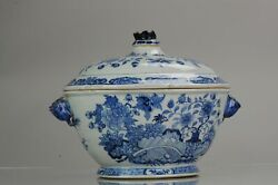 18c Qianlong Period Chinese Porcelain Tureen With Lid Flower Landscape [...