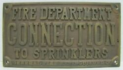General Fire Extinguisher Co Old Brass Plaque Sign Fire Department Connection